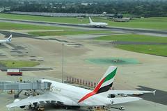 ZS-DJI & A6-EET (North Ports) Tags: man manchester airport emirates a380 ringway egcc zsdji a6eet