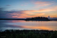 High Island (WherezJeff) Tags: sunset summer orange lake reflection yellow island high elkisland 2014 astotin
