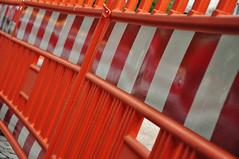 DSC_3318 [ps] - Navel Orange (Anyhoo) Tags: red urban orange white reflection warning fence germany deutschland stripes screen bands repetition barrier freiburg baden badenwrttemberg freiburgimbreisgau anyhoo photobyanyhoo