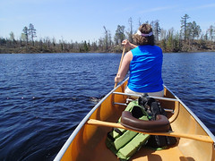 Paddling on Lake One toward Pagami Creek Fire burn area