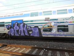 unfinished (en-ri) Tags: train writing torino graffiti crew arrow raven viola nero lilla corvo sdk pallini opak