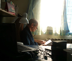 He will never stop studying (Babak Habibi) Tags: light window dad room study