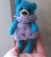 needle felted bear for blythe with crocheted outfit