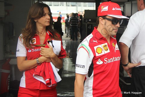 Fernando Alonso after the Drivers' Parade at the 2014 German Grand Prix
