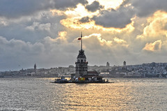 Maiden Tower of Istanbul (yonca60) Tags: city light sunset sea sky seascape tower nature clouds turkey landscape skies cityscape istanbul maidentower galatakulesi seaofmarmara sunsetinistanbul
