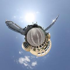 Downtown Dubai - little planet (jeglikerikkefisk) Tags: panorama downtown dubai pano uae sonne unitedarabemirates 360 sphericalpanorama vae equirectangular vereinigtearabischeemirate kugelpanorama dubaimall downtowndubai burjkhalifa sphrischespanorama