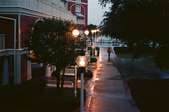 After the Deluge, Disney World, FL, 2014 (Tom Powell) Tags: film lines reflections epcot shadows availablelight disneyworld boardwalk leicam6 2014 colornegative kodakektar100 summicronm35mmf2asph