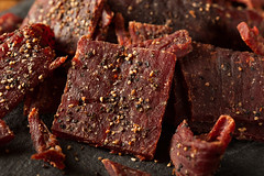 Dried Peppered Beef Jerky (brent.hofacker) Tags: red food brown healthy flavor natural sweet beef chewy salt hard tasty dry meat delicious crispy homemade slice snack meal spicy organic dried sliced piece protein jerky smoked beefjerky marinated dehydrated