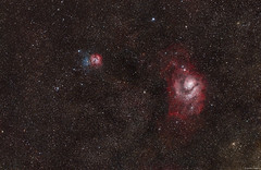 The Lagoon Nebula (M8) and Trifid Nebula (M20) (Martin_Heigan) Tags: thelagoonnebula trifidnebula nebulae widefield rgbmosaic sagittarius m8 m20 complex nebula dustandgas stars universe cosmos astroimaging dso deepspace deepsky space telescope phdguiding refractor apo gem pi pixinsight sgp framingwizard light astrophotography southernhemisphere southafrica africa processing platesolving astrometry martinheigan 2016 astronomy physics science 60da trillions suns billions detail starstuff starfield countless stellar emissionnebula reflectionnebula darknebula ngc6523 barnard85 starclouds astrometrydotnet:id=nova1968348 astrometrydotnet:status=solved ngc6533 ngc6506 ic4678 ic1271 ic4681 ngc6531 ngc6530 ngc6526 ngc6514 ngc6546 ngc6544