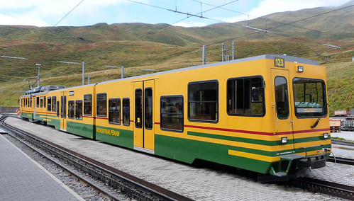 Wengernalpbahn, Switzerland - BDhe4/4 EMU No. 123 with modern low floor trailers at Kleine Scheidegg on the 19th September 2016