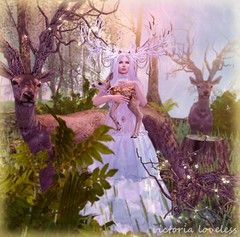 Guardian (*♥* Victoria Loveless *♥*) Tags: sl secondlife 3d woman nature deer fantasy mystical
