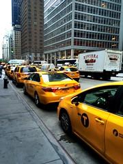 NYC Taxis (joeclin) Tags: northamerica unitedstates usa newyork ny manhattan nyc streetview iphoneography taxis outdoor color urban appleiphone5s newyorkcity newyorkcitymetro amateur