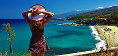 Summer Winds (free3yourmind) Tags: summer wind girl irina sea blue green turquoise water ikaria icaria greece beach view enjoy travel holidays hat
