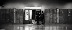 Attendre sa photo /waiting for pictures (quentin.spitaels) Tags: blackandwhite monochrome trainstation gare photomaton girls filles seules alone portrait wide large casiers cases belgium belgique wallonie wallonia namur fuji fujixt1 fujifilm 35mmf2 qsphotography