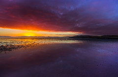Moray in mauve (snowyturner) Tags: bay coast beach scotland sand ripples sunset clouds sky landscape purple