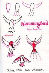 Hummingbird Step-out (molossus, who says Life Imitates Doodles) Tags: zentangle tanglepatterns tanglestepouts hummingbird