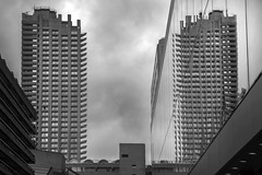 10/52 (2017): Brutal reflection, Barbican (Sean Hartwell Photography) Tags: barbican centre cityoflondon london 1960s architecture concrete glass tower blocks brutalism brutalist england uk reflection