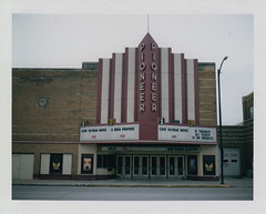 Pioneer Theatre - Nebraska City, NE (DavidVonk) Tags: vintage instant analog film polaroid neon sign theater theatre marquee movie pioneer landcamera 360 fp100c peelapart packfilm pack nebraskacity nebraska