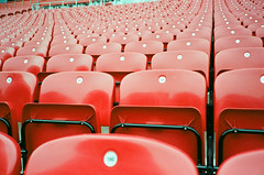 Empty red seats (srgpicker) Tags: 35mm f²400 analog anfield f2400 film iso400 liverpool lomography mjuii olympus red rojo seats μmjuii centrofuji asientos football soccer stadium