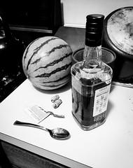Still life (Adam LaStrange) Tags: stilllife whiskey spoon jimbeam peanuts watermelon