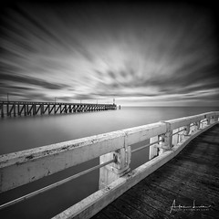 Pier To Pier II (Alec Lux) Tags: bw belgium blackandwhite blankenberge longexposure minimal minimalism monochrome ocean pier pontoon sea seascape