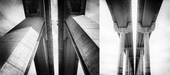 bridge diptych (marianna_a.) Tags: bridge architecture bw monochrome monday diptych two lines up mariannaarmata haltedeheron qc montreal canada