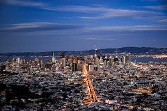 down the center (almostsummersky) Tags: horizon sunset overlook street bay city hills buildings viewpoint clouds road california bluehour sanfranciscobay ocean sanfrancisco travel slope twilight dusk sky urban winter skyline twinpeaks downtown unitedstates us