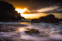 Just a Moment (Augmented Reality Images (Getty Contributor)) Tags: canon cliffs clouds colours dusk landscape leefilters longexposure morayfirth portknockie rocks scotland sunset water waves