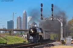 Queen of Steam and the Queen City... (lukeharwell) Tags: southernrailway skyline northcarolina charlotte queenofsteam queencity 611 484 classj norfolkwestern norfolksouthern