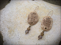 Petroglyph Amulet Earrings (Maggie Zee) Tags: pmcbronze amulet talisman smokeyquartz titlefx
