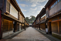 Higashi Chaya Early Morning (HDRx3) (banzainetsurfer) Tags: asia japan ishikawa kanazawa higashichaya chaya old historic entertainment shops street historical architecture buildings famous popular scenic scene