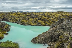 Blue Lagoon - Away From the Crowd (Iceland) (peterwaller) Tags: shore shoreline rock water lake reservoir still calm serene view vista geology rough terrain wet flat stark vegetation trail green aqua landscape moss lava