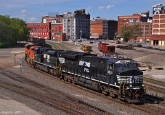 "Northbound Empty Coal Train in Kansas City, MO (""Righteous"" Grant G.) Tags: ns norfolk southern railway railroad locomotive train trains north northbound empty coal bnsf kansas city missouri west bottoms ge power"