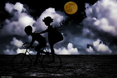children playing... (elle Q1) Tags: silhouette children playing riding bicycle moonlight barren landscape dark moody surreal