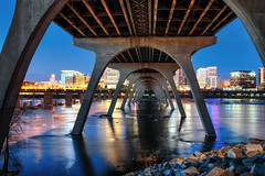 Try To Remember (Sky Noir) Tags: city longexposure nightphotography bridge blue look skyline night river manchester photography james early spring long exposure arch background under richmond va hour flowing bluehour icy quickly nightscapes flows