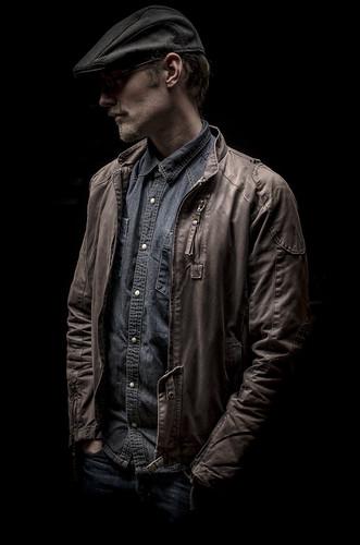 blue hat leather nikon boom jeans jacket cap denim nikkor softbox gridded strobist d7000