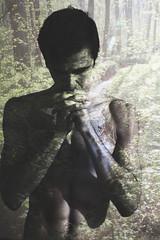 153/365 (Sergio Varanitsa) Tags: shadow portrait man art nature sunshine forest hands exposure emotion body double exposition torso worry 365 press stressed tors