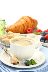 Breakfast with cup of coffee, croissants and berries (Iryna Melnyk) Tags: morning stilllife food white black hot english cup coffee closeup fruit breakfast french bread table dessert cafe healthy strawberry berry day break natural drink sweet eating background napkin traditional beverage culture mint continental tasty plate spoon daily fresh sugar delicious blueberry snack meal pastry croissant espresso copyspace caffeine freshness baked nonalcoholic refreshment