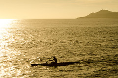 Toward the Sun (Justin Ornellas) Tags: justin sunset art silhouette hawaii paddle retro canoe hawaiian portlock ornellas ornellaswouldgo