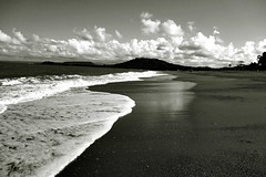 Baracoa beach (lucymagoo_images) Tags: sony rx100 bw monochrome cuba baracoa beach ocean caribe caribbean island water clouds sky scenic landscape mountains travel lucymagoo lucymagooimages blackandwhite