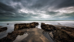 When the tide goes out (Nick Twyford) Tags: newzealand seascape clouds blacksand rocks moody auckland nz northisland westcoast waiuku colourimage awhitupeninsula leefilters hamiltonsgap nikond800 stormymood lee09nd lee06gndhard nikkor160350mmf40