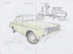 IDC Perspective Practice Page 23 (Flaf) Tags: auto ford car pen pencil ink vintage münchen mercedes automobile drawing sl mercedesbenz falcon florian 300 crayon puch freie motorroller neuhausen flaf afflerbach zeichnerei