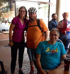Mary, Brook and Rudi at FCC (Mr.TinDC) Tags: friends people cyclists washingtondc dc mary swings rudi brook bikecommuters fridaycoffeeclub meswings