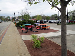 Completed construction with park benches at Lincoln Square for Farmer's Market (benchilada) Tags: park square for construction with farmers market lincoln benches completed