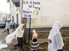 way to the salon (Mark Panszky) Tags: street girl scarf walking women veil ethiopia beautysalon harar