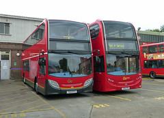 GAL E256 YX12FPO - E281 YX14RTV - NX GARAGE - TUE 20TH MAY 2014 (Bexleybus) Tags: new bus london ahead cross garage go dennis adl nx enviro400 e256 e281 yx12fpo yx14rtv