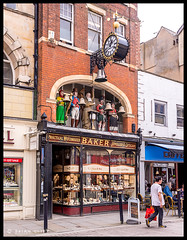 Bakers Jewellers, Gloucester (brianac37) Tags: clock shop pub victorian gloucestershire gloucester architcture shopfront chimingclock oldinn southgatestreet bakersjewellers