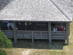 Family Waving at Us from Visitors Center, as Seen from Top of Cape Hatteras Light Station (Lighthouse), Cape Hatteras National Seashore, Buxton, North Carolina