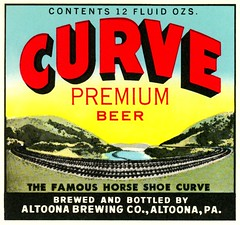 Curve Premium Beer Label, Altoona, Pa. (Alan Mays) Tags: ephemera labels beerlabels beerbottlelabels bottlelabels advertising advertisements ads paper printed altoonabrewingcompany breweries companies curvepremiumbeer curvebeer beer beers beverages curve curves horseshoecurve pennsylvaniarailroad railroads railways trains railroadtracks tracks mountains illustrations red yellow blue borders altoona pa blaircounty pennsylvania antique old vintage typefaces type typography fonts curvedtext textonacurve