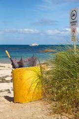 broken brolly (sunphlo) Tags: southwest beach broken sign yellow umbrella bin rubbish westernaustralia brolly windyharbour